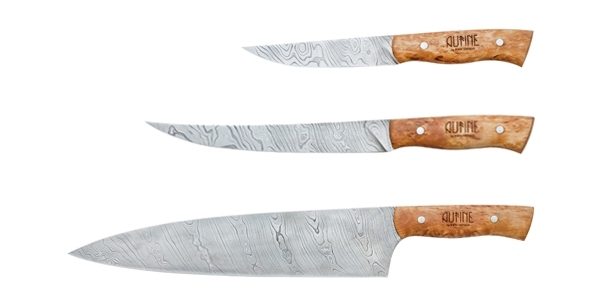 set of 3 damascus kitchen knives